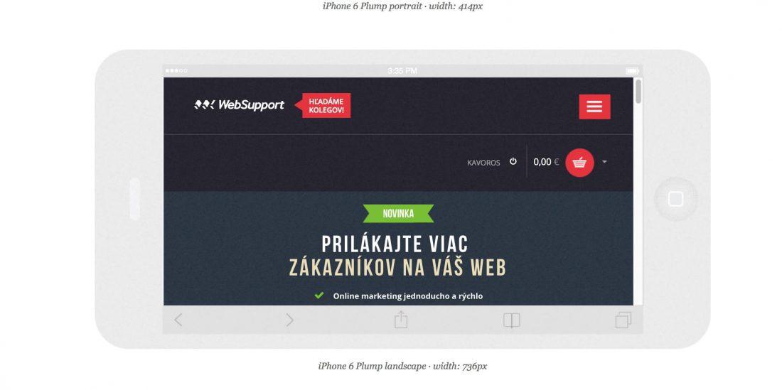 Náhľad na mobilnú verziu www.websupport.sk v nástroji Responsinator