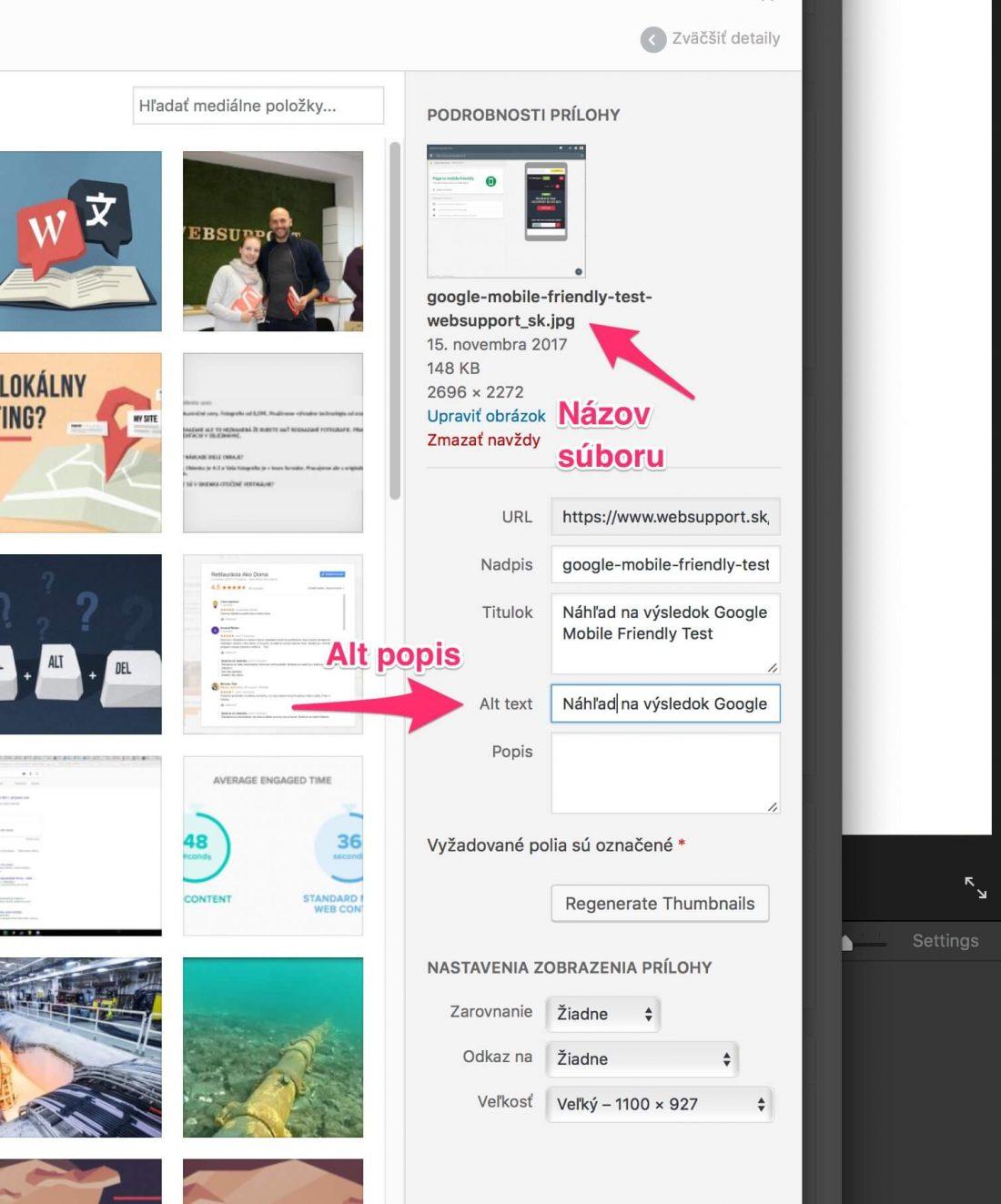 Názov a popis obrázku v prostredí WordPress