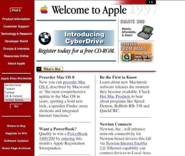 Apple pôvodný web