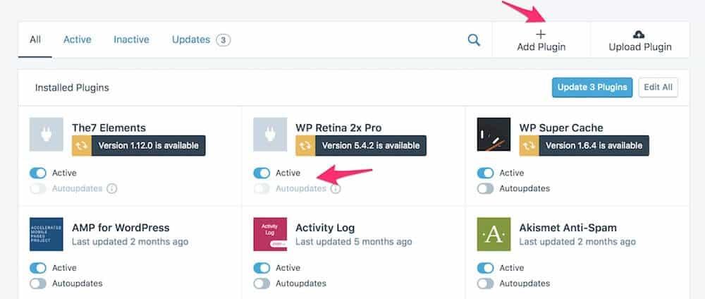 Správa pluginov s možnosťou pridať a aktualizovať pluginy