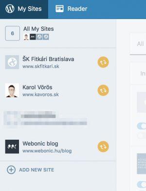 Prehľad prepojených webových stránok v nástroji JetPack Manage
