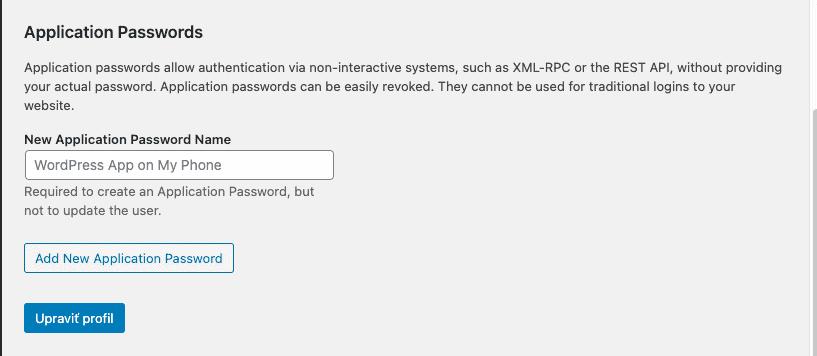 WordPress 5.6 application passwords